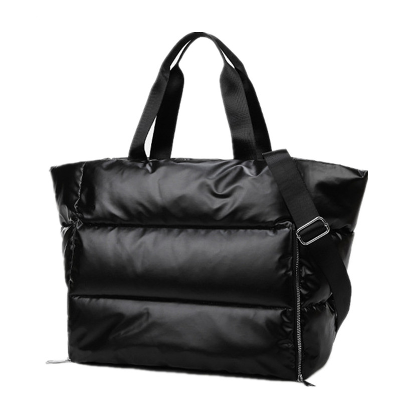 Winter New Large Capacity Shoulder Bag For Women Waterproof Nylon Bags Space Pad Cotton Feather Down Bag Large Bag With Shoulder