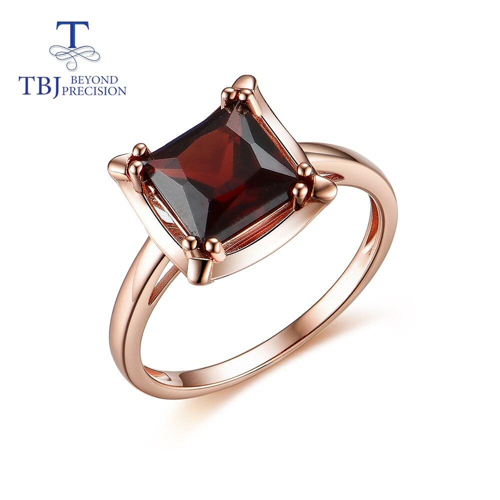 Garnet ring natural gemstone aquare 8.0mm in 925 sterling silver fine jewelry for women Wedding wear new design 2020 TBJ