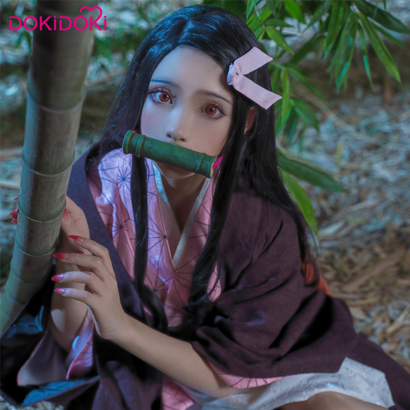 DokiDoki Anime Cosplay démon tueuse: Kimetsu no Yaiba Cosplay Kamado Nezuko Costume femmes Kimono Costume Kimetsu no Yaiba