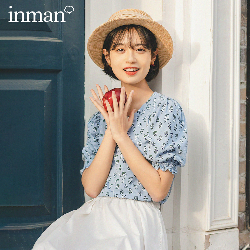 INMAN Summer New Arrival Cotton Round Collar Sweet Style Flower Print Bubble Sleeve Women T Shirt