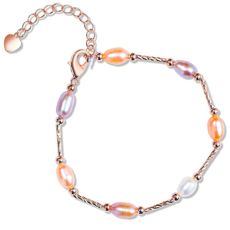 DMCBFP015 6mm Pearl Bracelet Alloy Multi-color Pearl Bracelet Adustable For Women