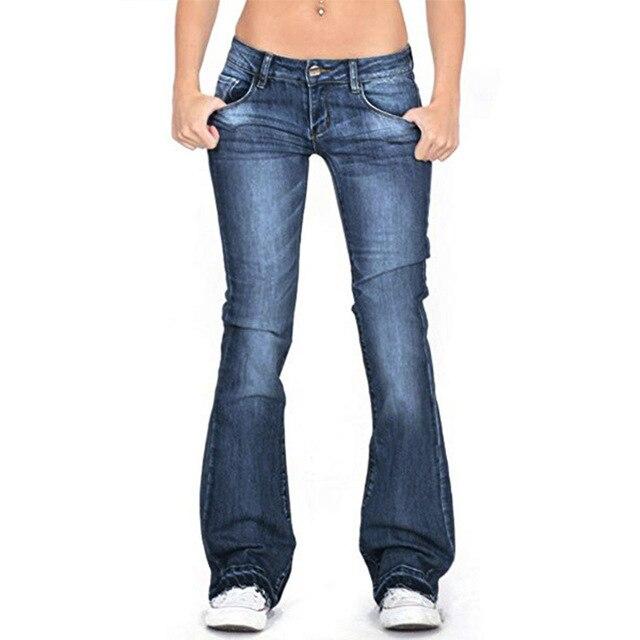 Pantalon en Denim pour femmes, pantalon évasé, taille basse, Long, jambes larges, extensible, Slim, bleu clair, grandes tailles, collection décontracté
