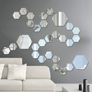 3D Hexagon Acrylic Mirror Wall Stickers DIY Art Wall Decor Stickers Living Room Mirrored Sticker Gold Home Decor 1