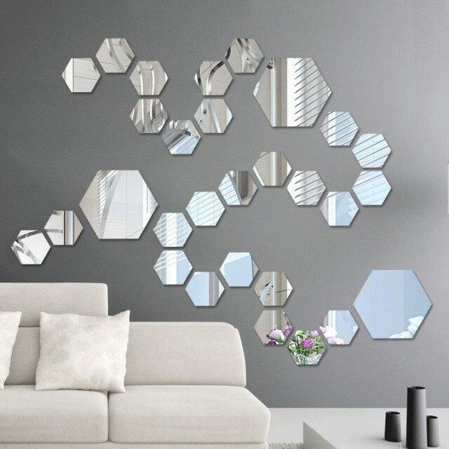 3D Hexagon Acrylic Mirror Wall Stickers DIY Art Wall Decor Stickers Living Room Mirrored Sticker Gold Home Decor 1