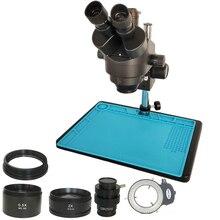 Microscope trinoculaire stéréo, simulateur de focale dobjectif, 144 LED lumières, Kit de réparation téléphone pcb et bijoux, livraison gratuite russe