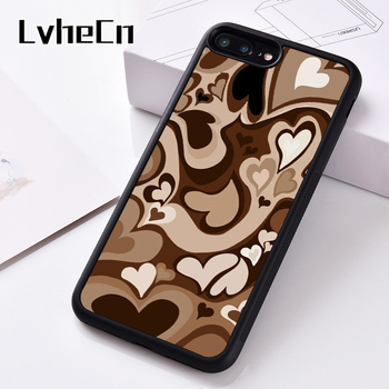 LvheCn Silicone Rubber Phone Case Cover For iPhone 6 6S 7 8 Plus 5 5S SE 2020 X XS XR 11 12 PRO Mini MAX Brown Hearts 1