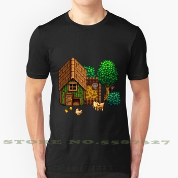 Retro Pixel Farm House Graphic Custom Funny Hot Sale Tshirt Retro Gamin Dew Valley Stardew Farm Farmhouse Pixel Art Pixels image