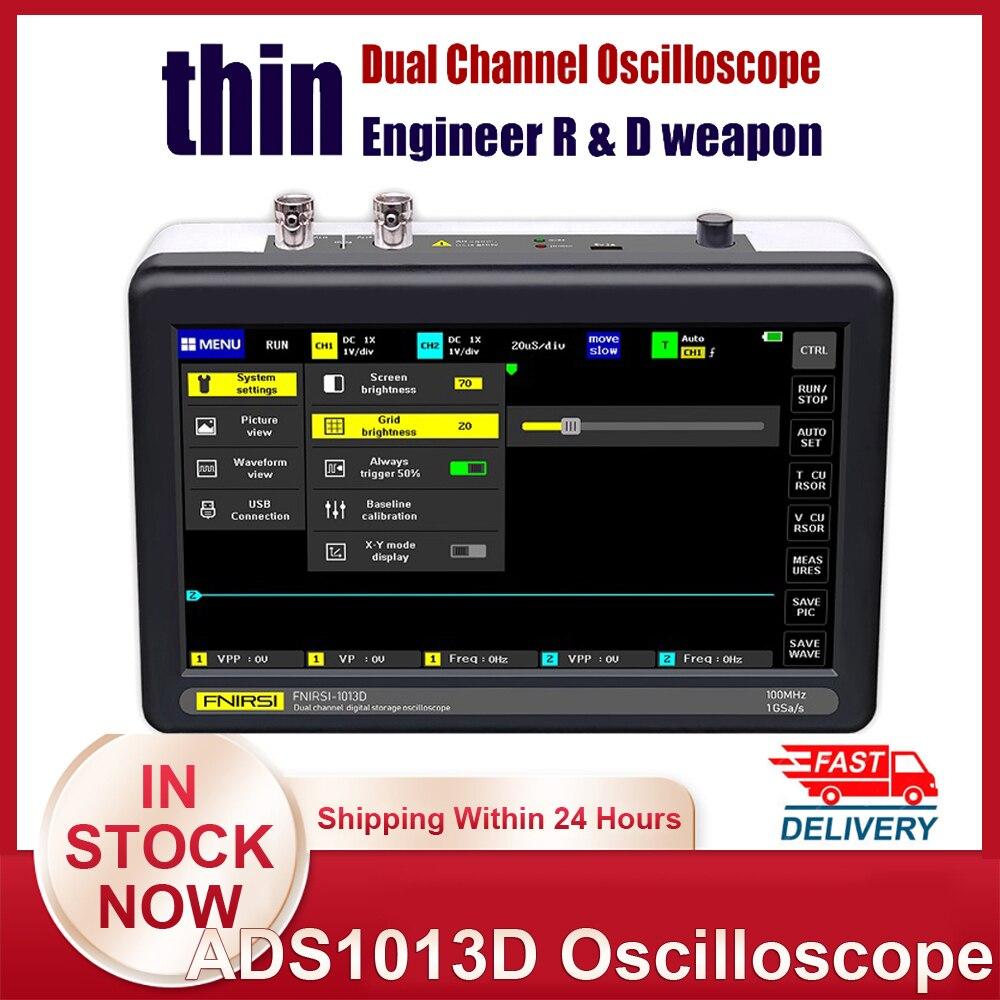 Ads1013d digital tablet osciloscópio duplo canal 100m largura de banda 1gs taxa de amostragem mini tablet osciloscópio digital osciloscópio osciloscópio