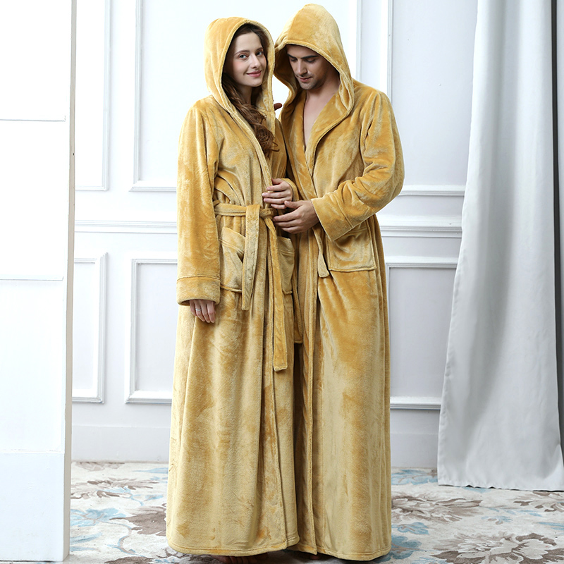 Men Plus Size Long Warm Flannel Bathrobe Winter Hooded Coral Fleece Bath Robe Men Night Sleepwear Women Dressing Gown Sexy Robes