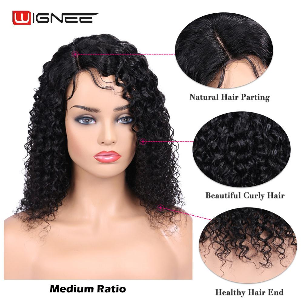 Wignee Short Curly Lace Part Human Wig With Baby Hair For Black/White Women 150% Density Glueless Lace Human Wig Free Shipping