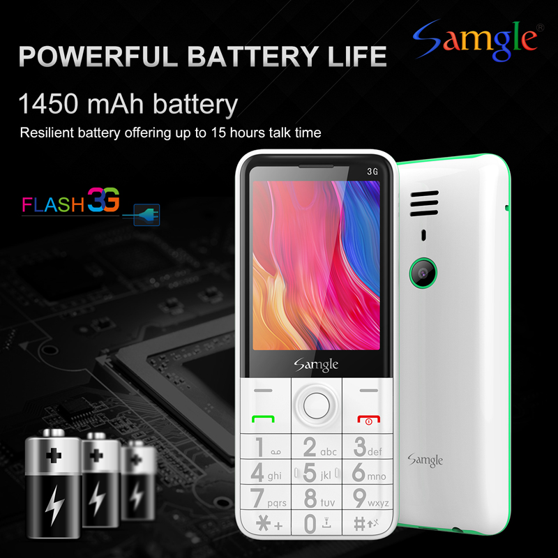 "Samgle Bar Feature Cellphone 3G WCDMA Quick Dial 2.8"" Display Flashlight Super Long Standby Simply Senior Elder Phone"