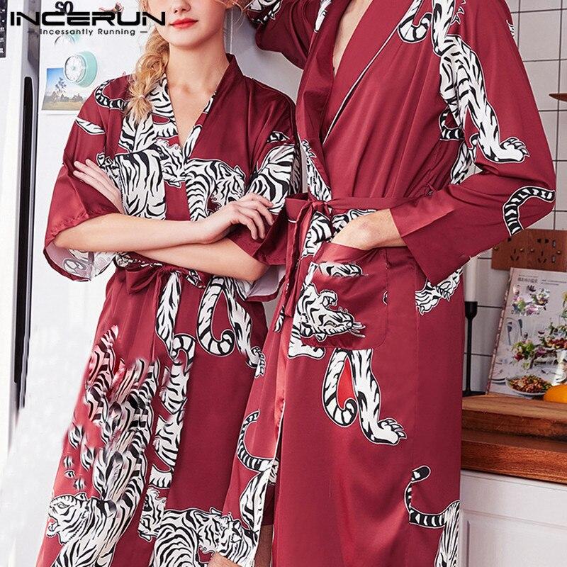 INCERUN 2020 Women Men Tiger Print Long Sleeve Satin Sleepwear Fashion Homwear Lapel Belt Pajamas Comfort Dressing Gown Bathrobe