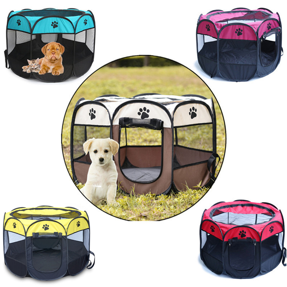 73X73X43CM Portable Folding Pets Tent Small Large Pet Cage Indoor/Outdoor Pet <font><b>Dogs</b></font> Cats <font><b>kennel</b></font> Folding Mesh Shade <font><b>Cover</b></font> <font><b>Kennel</b></font> image