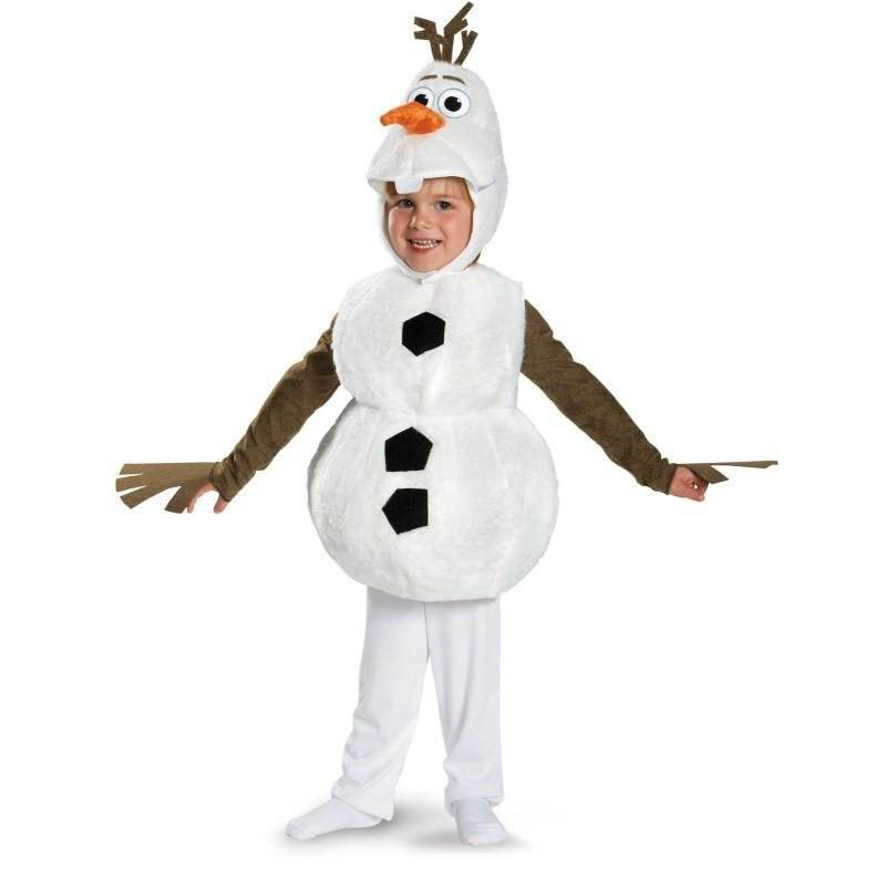 White Kids Adorable Cosplay Costume Snowman Olaf Jumpsuit Cartoon Movie Anna Elsa Halloween Christmas Role Play Suit Children