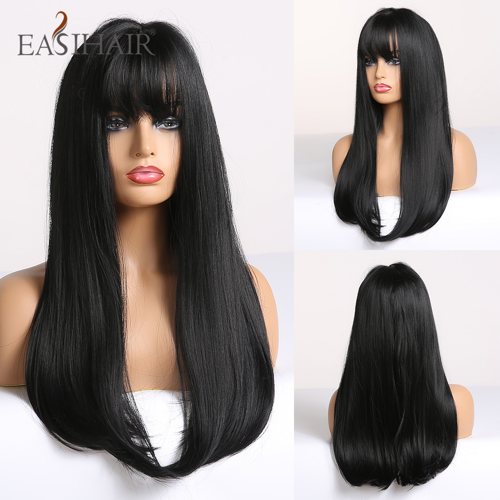 EASIHAIR Long Straight Black Synthetic Wigs With Bangs Natural Wigs For Women High Temperature Fiber Cosplay Wigs Heat Resistant