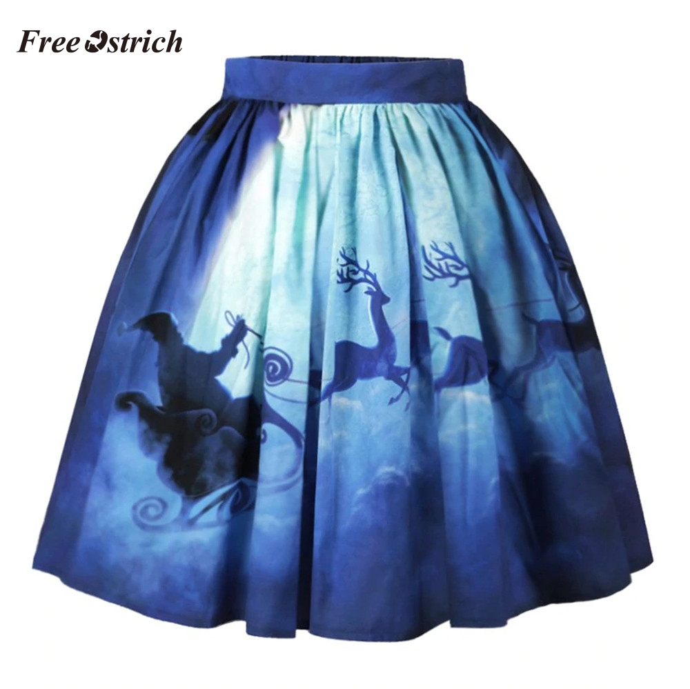 Free Ostrich Women Christmas Skirt Sexy Santa Printed Swing Performance A-Line Loose Skirt Gift For Women Girls 908