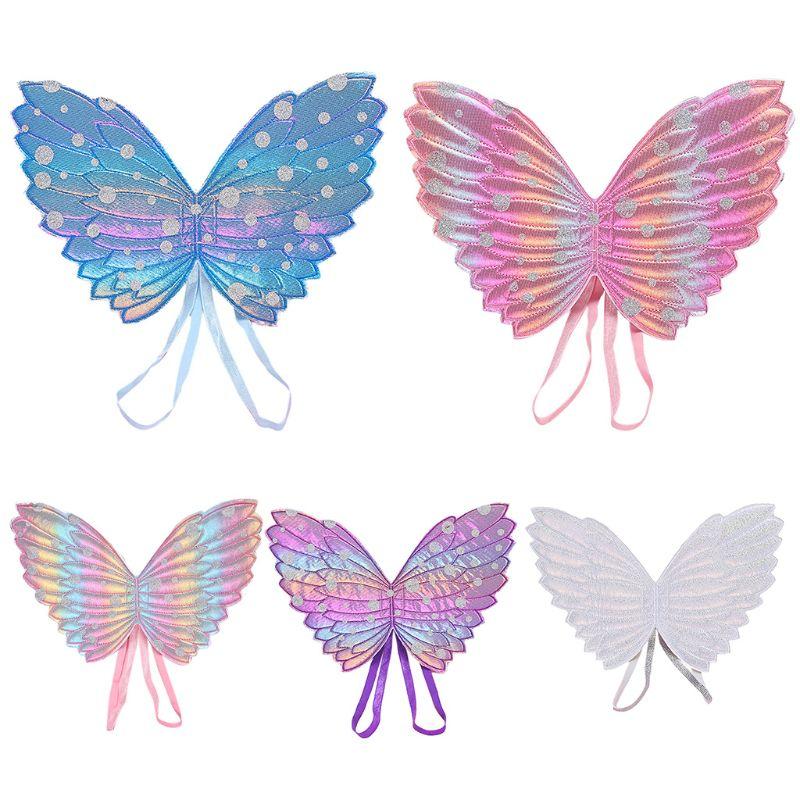 1 Pc Children Gradient Butterfly Wings Baby Kids Shower Party Accessories White;Purple;Light Pink;Dark Pink;Blue