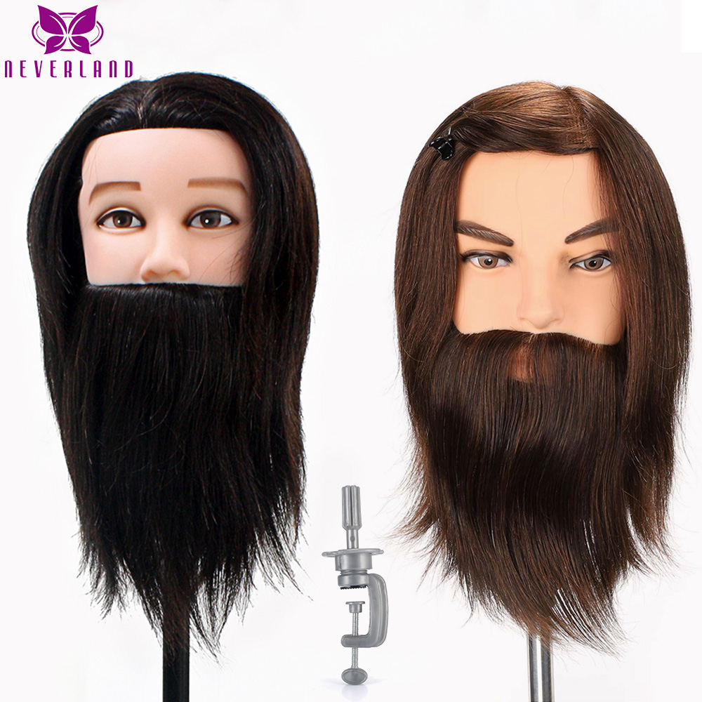 NEVERLAND 100% Real Hair Men Mannequin Head Cutting Practice Salon Training Head Head Model with Clamp Male Mannequin Wig