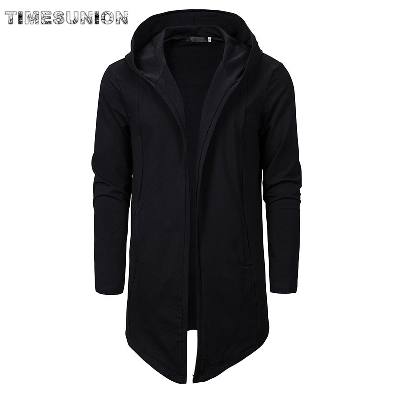 Men Assassins Creed Dark Series Irregular Hooded Cardigan Sweatercoat Long Men Casual Hoodies Coat