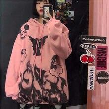 Harajuku moletom feminino rosa outono hoodies manga comprida pulôver branco engraçado kpop solto jumpers hoodie bf fêmeas legal