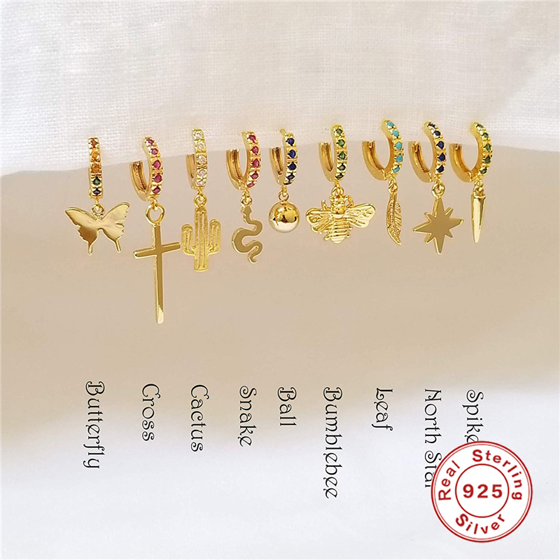 1 Pcs Ear Rings 925 Sterling Silver Hanging Stud Earrings For Women Butterfly, Cross, Anise Star, Snake Charm Studs Earring A30