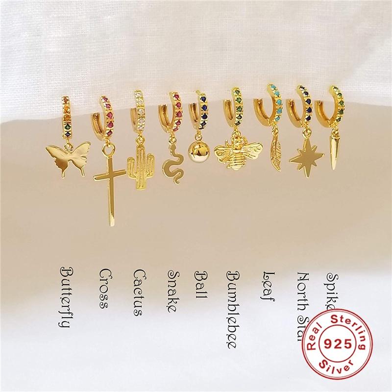 1 Pcs Earrings 925 Sterling Silver Hanging Stud Earrings For Women Butterfly, Cross, Anise Star, Snake Charm Studs Earring A30