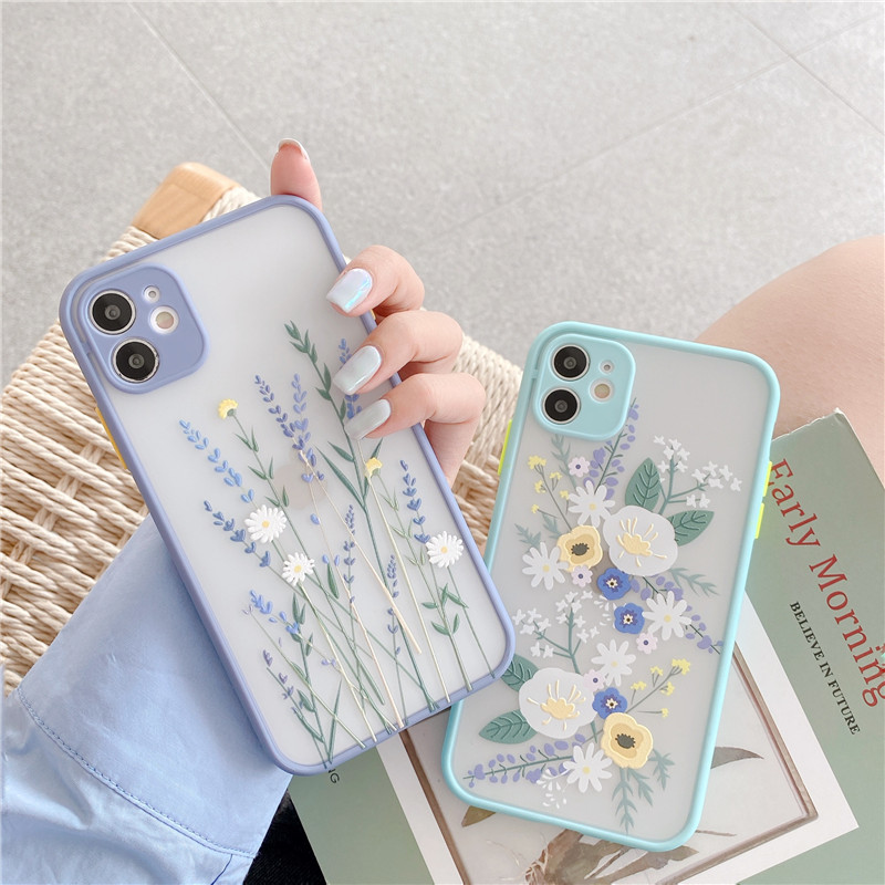 Fashion Cute Flower Phone Case For iphone 11 Pro Max 7 8 plus X XR XS Max SE 2020 Back Cover Luxury Color Thick Border Soft Capa