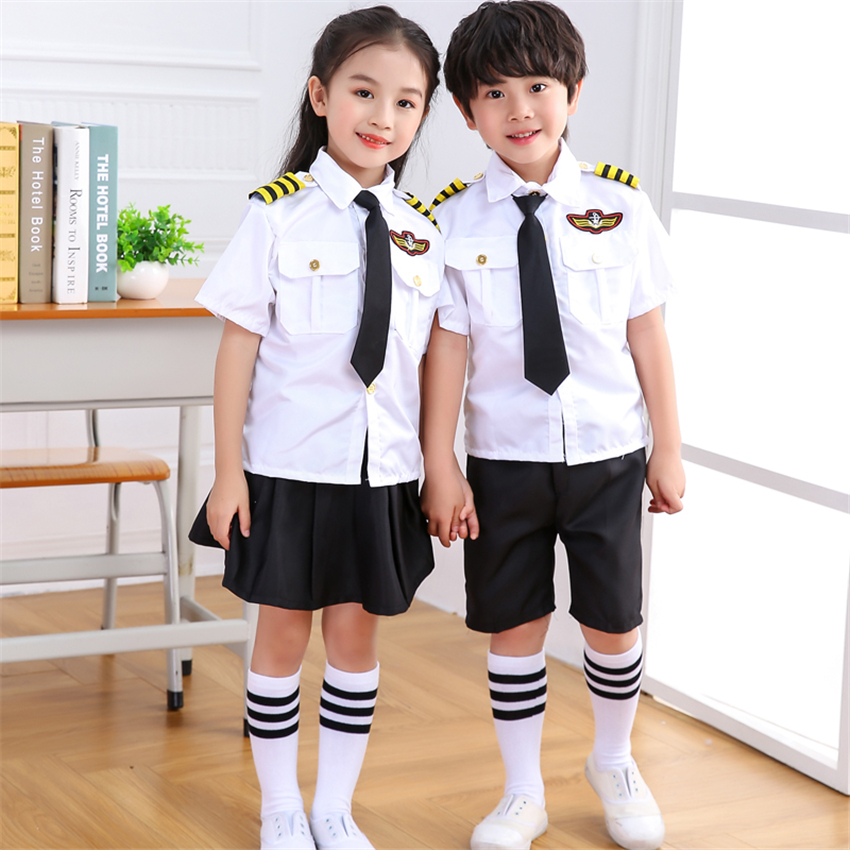 New Kids Halloween Carnival Costumes Boys Air Force Pilot Uniform Stage Performance Cosplay Firefighter Chorus Dance Clothing