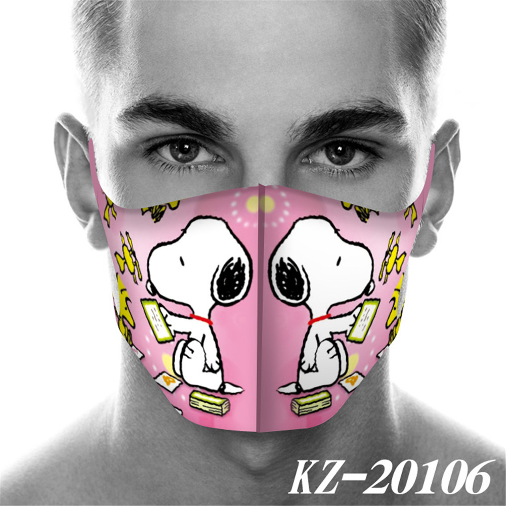 Full Printed Snoopy Mouth Mask Breathable Unisex Face Mask Reusable Anti Pollution Wind Proof Mouth Cover