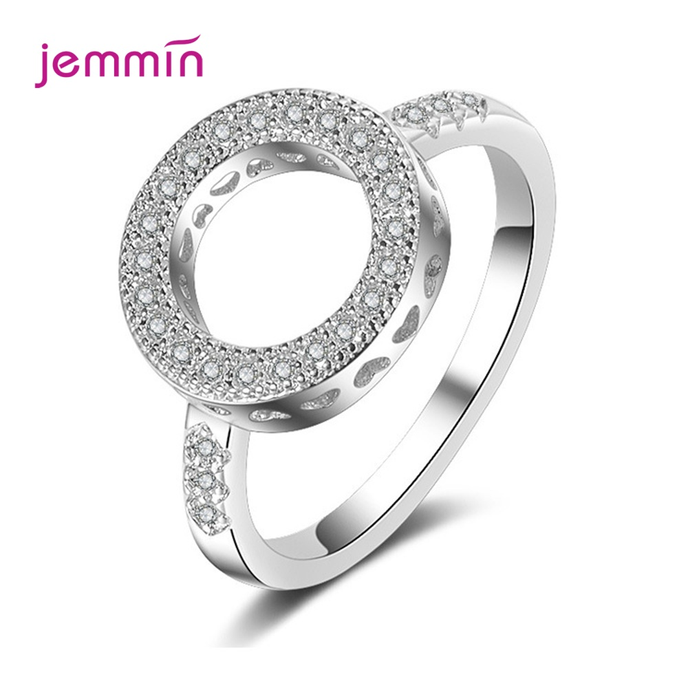 Geometric Round Shape 925 Sterling Silver Rings Jewelry Hollow Out Crystals AAA Zircon Fine Ring For Women Girl Party Gift