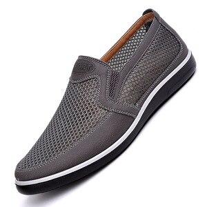Image 2 - 2019 New Männer Casual Schuhe Männer Sommer Stil Mesh Wohnungen Für Männer Loafer Creepers Beiläufige Hohe Ende Schuhe Sehr komfortable