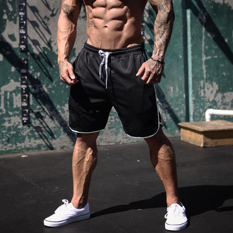 Summer Joggers Shorts Mens Fitness Gym Short Pants Bodybuilding Workout Mesh Quick Dry Beach Shorts Male Sportswear Bottoms