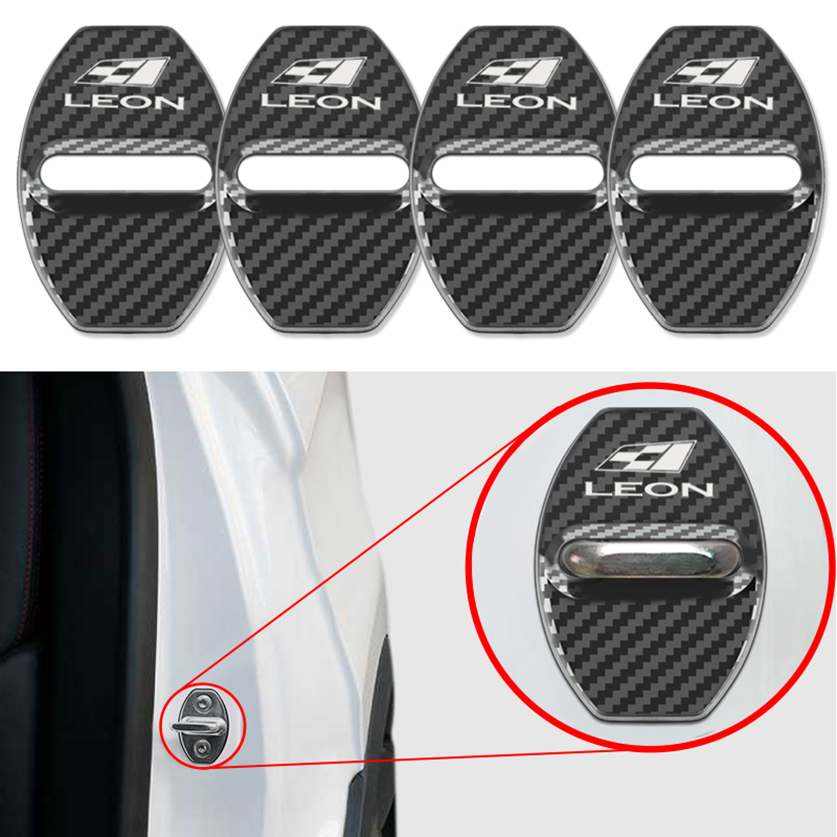 4pcs/set Stainless Steel Car Carbon Fiber Pattern Door Lock Cover Caps For Seat Leon Ibiza Cupra Car Emblems Accessories