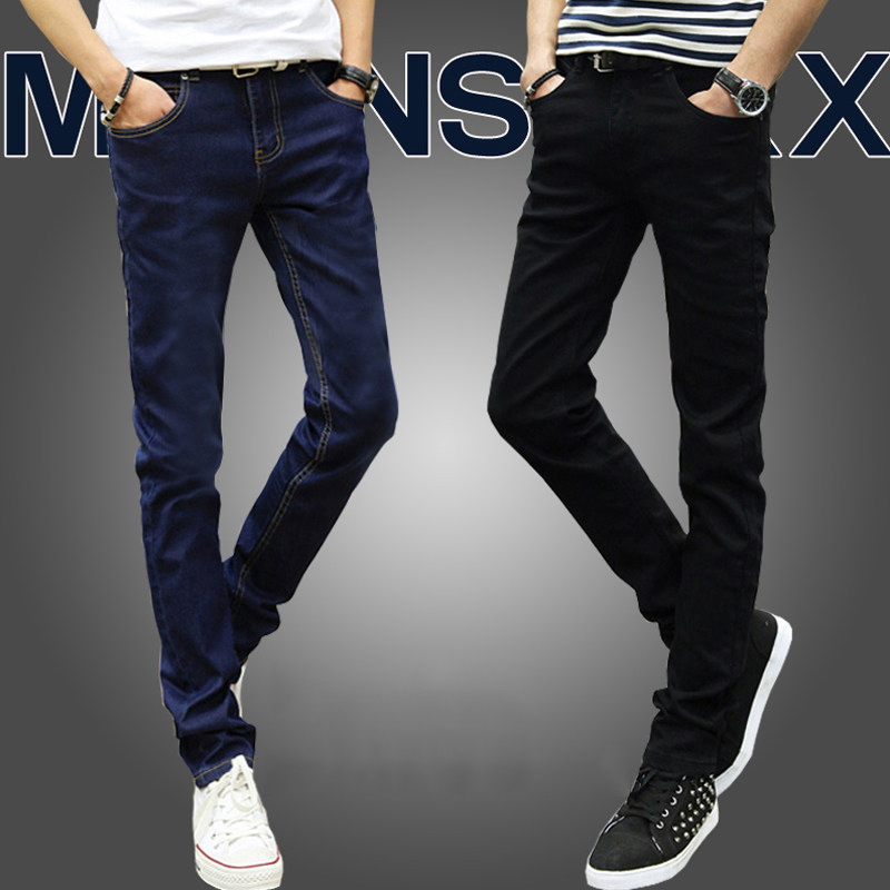 Men's Slim-fit Stretch-leg Pants Jeans Youth Self-cultivation Waist Straight Man Trousers Tide Male Elastic Force Bound Jeans