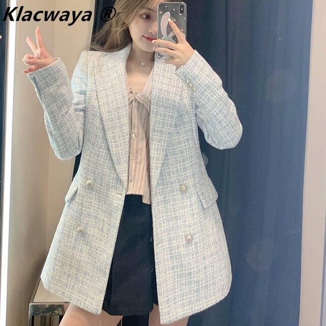 Za 2021 Women Suit Jacket Tweed Blazer Women Jacket Femme Plaszcz Wiosenny Damski Sobrecamisa Cuadros Plaid Checkered Blazer 1