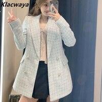 Za 2021 Women Suit Jacket Tweed Blazer Women Jacket Femme Plaszcz Wiosenny Damski Sobrecamisa Cuadros Plaid Checkered Blazer
