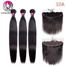 """Angelbella 24 26 28 дюймов прямые пряди волос 3/4 с 13 """"x4"""""""