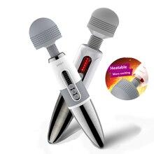 Leten Vibrating Magic Wand Silicone Big Head Dildo AV Vibrator Sex Toys For Woman USB Charge Clitoris Massage Adult Products