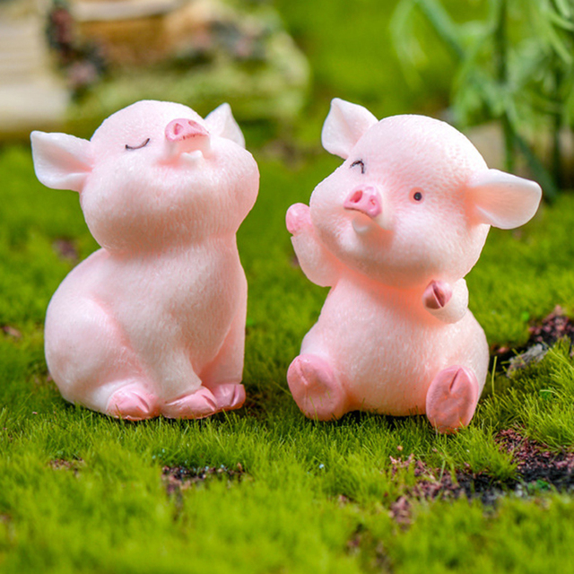 Miniature Cute Pig Garden Figurines Fairy House Home Office Desk Decoration Modern Accessories  Resin Miniatures Mini DIY Decor 5