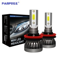PAMPSEE 2 adet mini H7 H4 LED ampul araba far H11 H1 H8 H3 H9 9005/HB3 9006/HB4 9007 Hi-Lo ışın 80W 10000LM otomatik far led