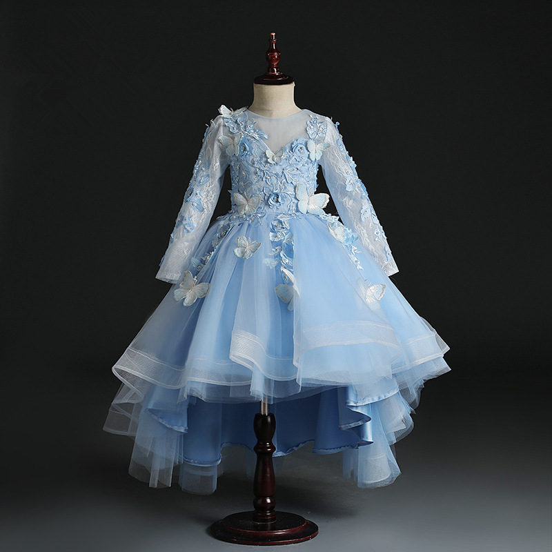 Dresses Of Bride Fellow Kids Women's Children Wedding Dress Girls Princess Skirt Puffy Yarn Long Sleeve Girls Host Late Formal D