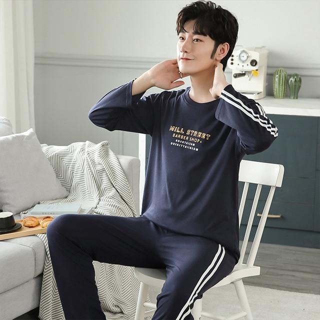 New Autumn Winter Cotton Pyjama Men Pajama Set Fashion Plaid Sleepwear Suit With Pocket Casual Comfortable Sports Warm Outwear 4