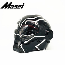 Masei Iron Man helmet motorcycle Vintage Retro Panther open face casque Motocross Off Road Touring
