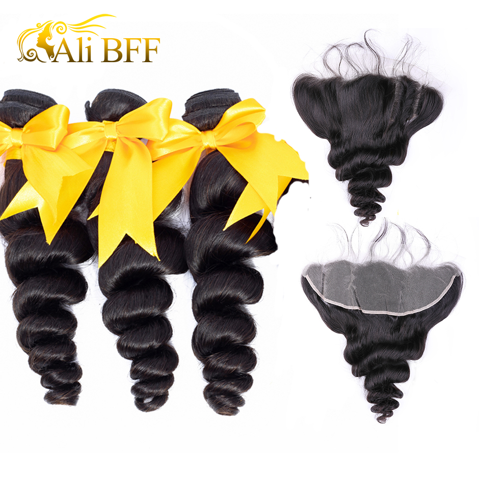 ALI BFF Malaysian Loose Wave Bundles With Frontal Closure Remy Human Hair Bundles With Frontal Closure Bouncy Curl Dyeable