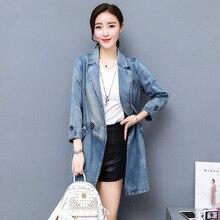 2019 Women Long Denim Jacket Streetwear Spring/Autumn Cotton Women's Single Breasted Long Sleeve Jeans Coats Size S M L XL 2XL