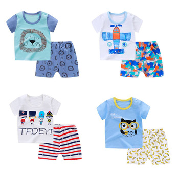 Baby Clothing Sets summer Baby Boys girls Clothes Infant cotton boys Tops T-shirt+Pants Outfits kids clothes Set Children cloth 1 2 3 4 year boys clothes 2018 new cotton casual kids outfits star shirts stripe pants 2pcs baby children clothing set