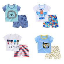 Zestawy ubrań dla niemowląt letnie dziecko chłopcy dziewczęta ubrania dla niemowląt bawełniane chłopcy topy T-shirt + spodnie stroje dla dzieci zestaw ubrań dla dzieci tanie tanio Na co dzień O-neck Swetry YH372 COTTON Unisex Krótki REGULAR Pasuje prawda na wymiar weź swój normalny rozmiar Szorty