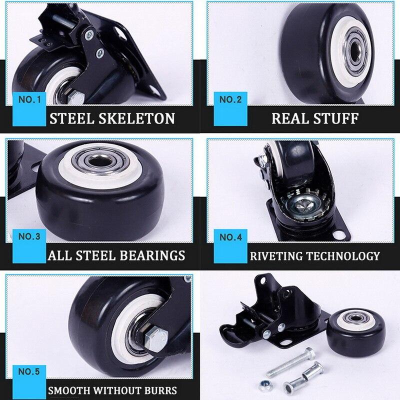 80kg4pcs rodas rodízios móveis rodízios rodízios de borracha macia roda de rolo prata para plataforma cadeira do trole acessórios domésticos-3