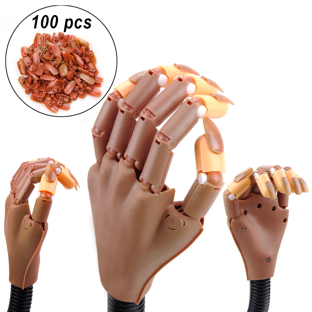1Pcs Practice Manicure Hand With 100pcs Nail Tips Adjustable Flexible Holder DIY Nail Supplies For Professionals Fake Nails Tool