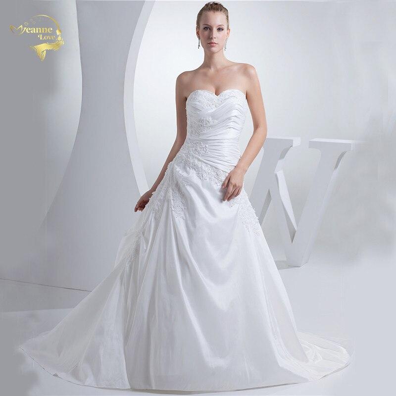 Jeanne Amor New Arrival Moda A Linha de Vestidos de Casamento Do Querido Do Vintage Beading Vestido de Noiva 2017 Robe De Mariage JLOV75939